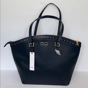 NWT BCBG Stella tote in black with gold studs